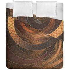 Brown, Bronze, Wicker, And Rattan Fractal Circles Duvet Cover Double Side (california King Size) by jayaprime
