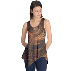 Brown, Bronze, Wicker, And Rattan Fractal Circles Sleeveless Tunic by jayaprime