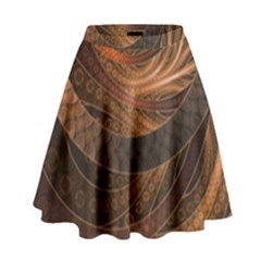 Brown, Bronze, Wicker, And Rattan Fractal Circles High Waist Skirt by jayaprime