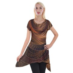Brown, Bronze, Wicker, And Rattan Fractal Circles Short Sleeve Side Drop Tunic by jayaprime