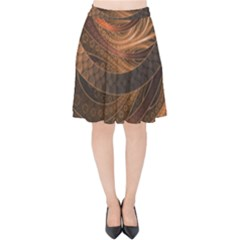 Brown, Bronze, Wicker, And Rattan Fractal Circles Velvet High Waist Skirt by jayaprime