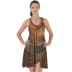 Brown, Bronze, Wicker, And Rattan Fractal Circles Show Some Back Chiffon Dress by jayaprime