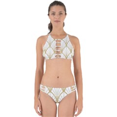 Art Deco, Beautiful,fan Pattern, Gold,white,vintage,1920 Era, Elegant,chic,vintage Perfectly Cut Out Bikini Set by 8fugoso