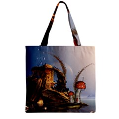 Wonderful Seascape With Mushroom House Grocery Tote Bag by FantasyWorld7