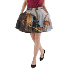 Wonderful Seascape With Mushroom House A Line Pocket Skirt by FantasyWorld7