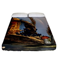 Wonderful Seascape With Mushroom House Fitted Sheet (king Size) by FantasyWorld7