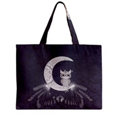 Mandala, Cute Owl On The Moon Mini Tote Bag by FantasyWorld7