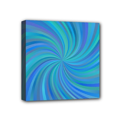 Blue Background Spiral Swirl Mini Canvas 4  X 4  by Celenk