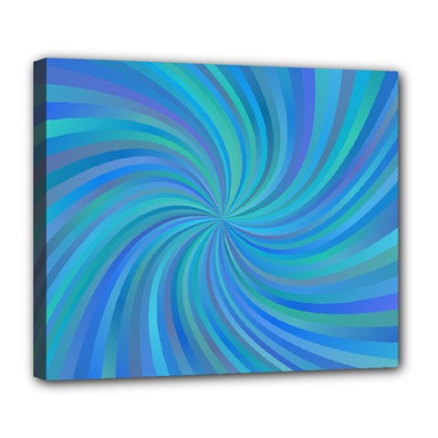 Blue Background Spiral Swirl Deluxe Canvas 24  X 20   by Celenk