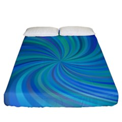 Blue Background Spiral Swirl Fitted Sheet (king Size) by Celenk