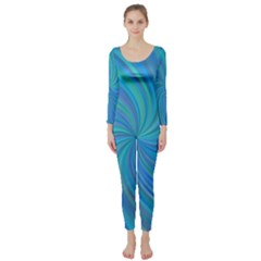 Blue Background Spiral Swirl Long Sleeve Catsuit by Celenk