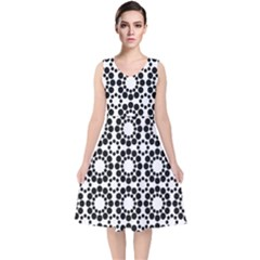 Black White Pattern Seamless Monochrome V Neck Midi Sleeveless Dress