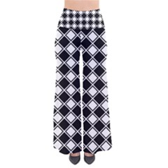 Black White Square Diagonal Pattern Seamless Pants by Celenk