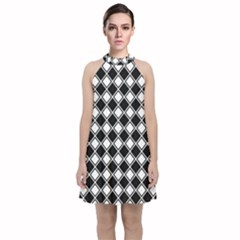 Black White Square Diagonal Pattern Seamless Velvet Halter Neckline Dress  by Celenk