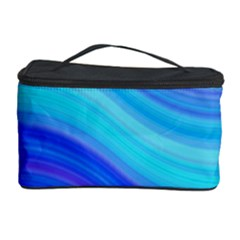 Blue Background Water Design Wave Cosmetic Storage Case by Celenk