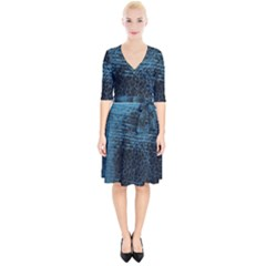 Blue Black Shiny Fabric Pattern Wrap Up Cocktail Dress