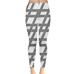 Grid Pattern Seamless Monochrome Leggings  by Celenk