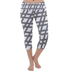 Grid Pattern Seamless Monochrome Capri Yoga Leggings by Celenk