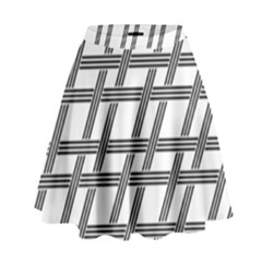Grid Pattern Seamless Monochrome High Waist Skirt