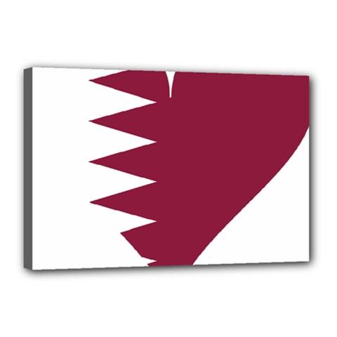 Heart Love Flag Qatar Canvas 18  X 12  by Celenk