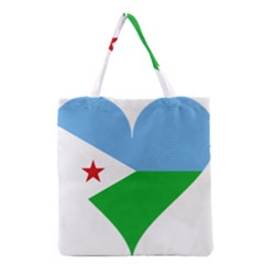 Heart Love Flag Djibouti Star Grocery Tote Bag by Celenk