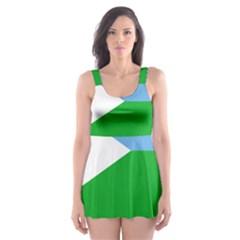Heart Love Flag Djibouti Star Skater Dress Swimsuit by Celenk