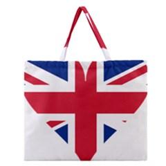 Heart Love Heart Shaped Flag Zipper Large Tote Bag by Celenk