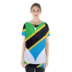 Heart Love Tanzania East Africa Skirt Hem Sports Top