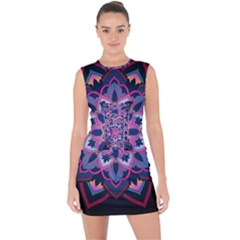 Mandala Circular Pattern Lace Up Front Bodycon Dress