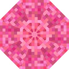 Pink Square Background Color Mosaic Folding Umbrellas by Celenk