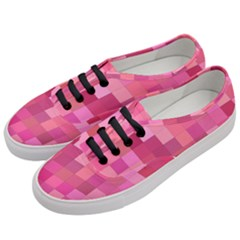 Pink Square Background Color Mosaic Women s Classic Low Top Sneakers by Celenk