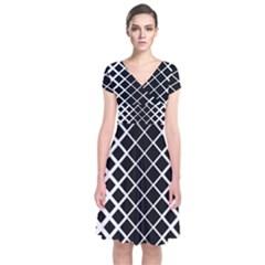 Square Diagonal Pattern Monochrome Short Sleeve Front Wrap Dress by Celenk