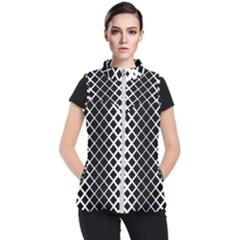 Square Diagonal Pattern Monochrome Women s Puffer Vest