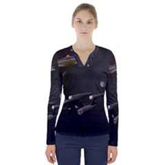 Space Travel Spaceship Space V Neck Long Sleeve Top