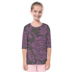 Purple Black Red Fabric Textile Kids  Quarter Sleeve Raglan Tee