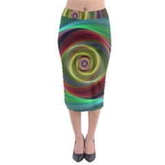 Spiral Vortex Fractal Render Swirl Midi Pencil Skirt by Celenk