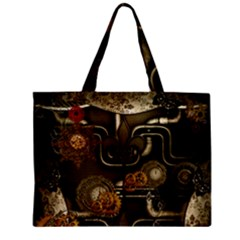 Wonderful Noble Steampunk Design, Clocks And Gears And Butterflies Zipper Mini Tote Bag by FantasyWorld7