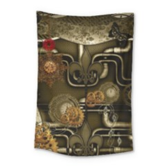 Wonderful Noble Steampunk Design, Clocks And Gears And Butterflies Small Tapestry by FantasyWorld7