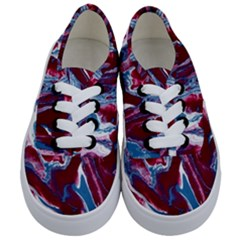Blue Red White Marble Pattern Kids  Classic Low Top Sneakers