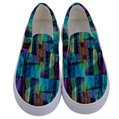 Abstract Square Wall Kids  Canvas Slip Ons