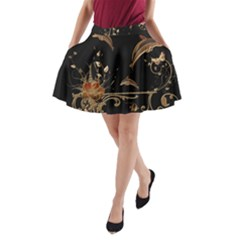 Wonderful Dolphins And Flowers, Golden Colors A Line Pocket Skirt by FantasyWorld7