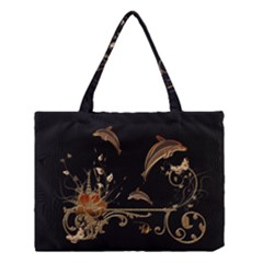 Wonderful Dolphins And Flowers, Golden Colors Medium Tote Bag by FantasyWorld7