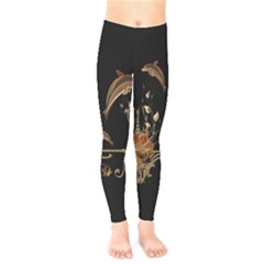 Wonderful Dolphins And Flowers, Golden Colors Kids  Legging by FantasyWorld7