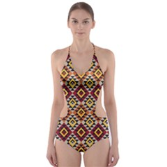 Native American Pattern 15 Cut Out One Piece Swimsuit by Cveti
