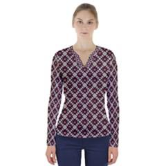 Native American Pattern 18 V Neck Long Sleeve Top