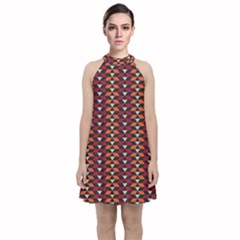 Native American Pattern 19 Velvet Halter Neckline Dress  by Cveti