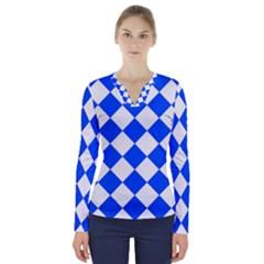 Blue White Diamonds Seamless V Neck Long Sleeve Top