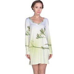 Spring Plant Nature Blue Green Long Sleeve Nightdress by Celenk