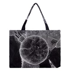 Space Universe Earth Rocket Medium Tote Bag by Celenk