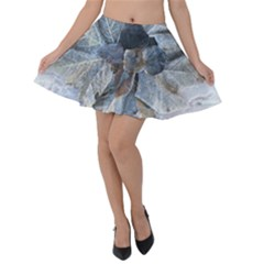Winter Frost Ice Sheet Leaves Velvet Skater Skirt